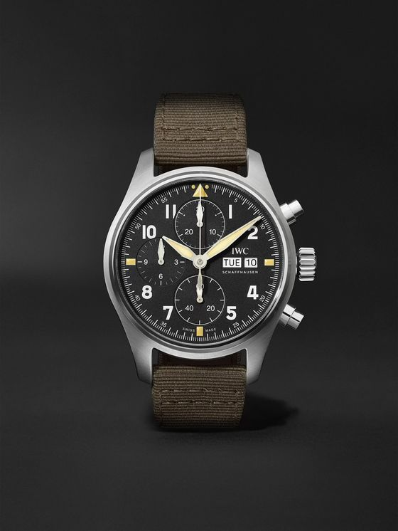 IWC SCHAFFHAUSEN Pilot's Spitfire Automatic Chronograph 41mm Stainless Steel and Webbing Watch