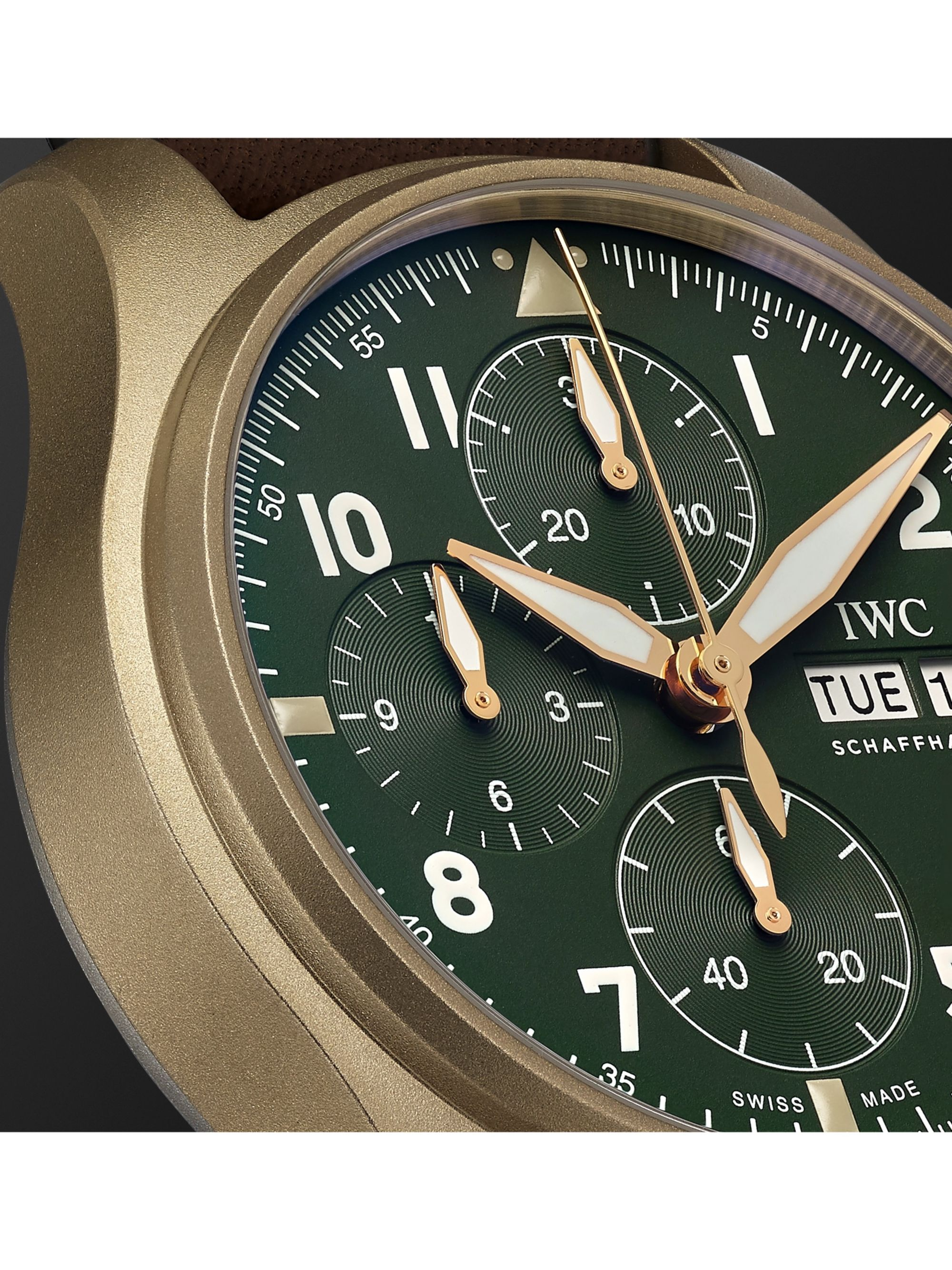 IWC SCHAFFHAUSEN Pilot's Spitfire Automatic Chronograph 41mm Bronze and Leather Watch