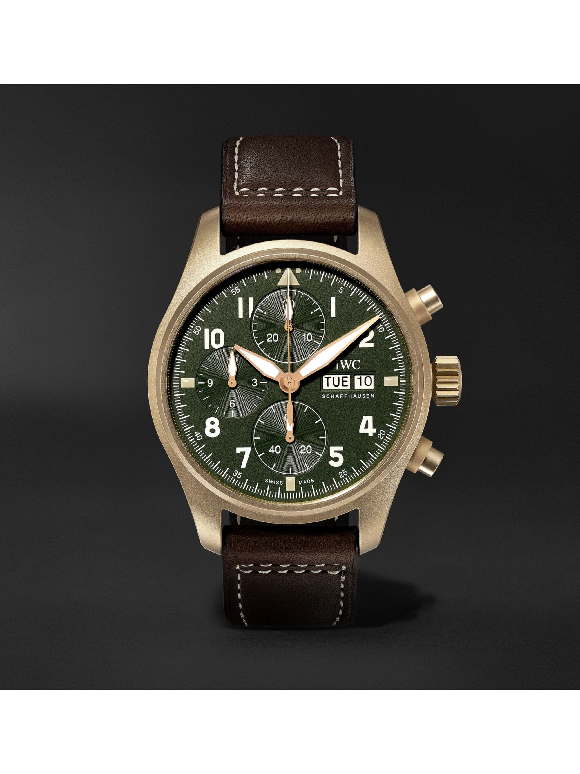 Pilot S Spitfire Automatic Chronograph 41mm Bronze And Leather Watch