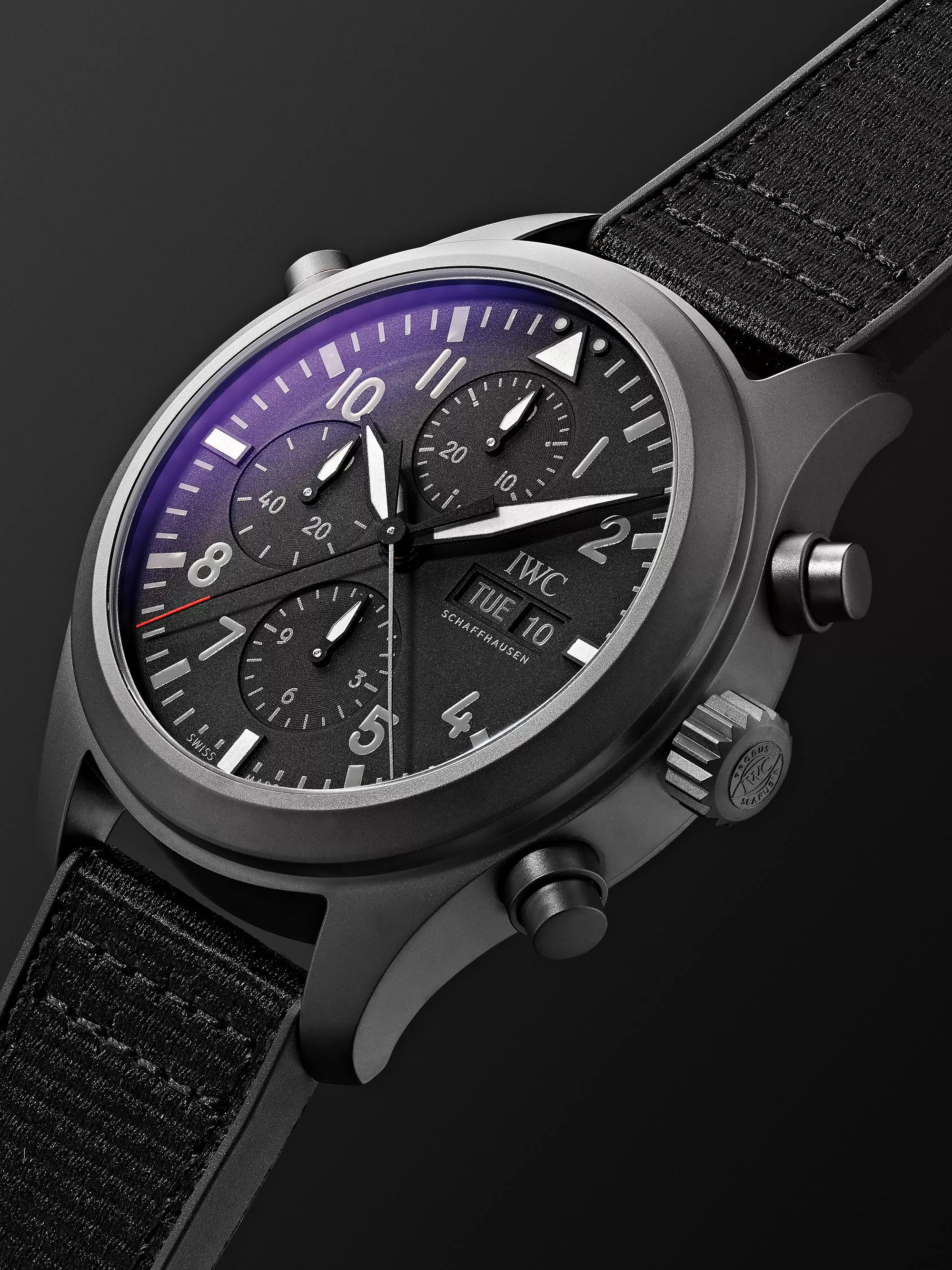 IWC SCHAFFHAUSEN Pilot's TOP GUN Automatic Chronograph 44mm Ceratanium, Webbing and Rubber Watch, Ref. No. IW371815
