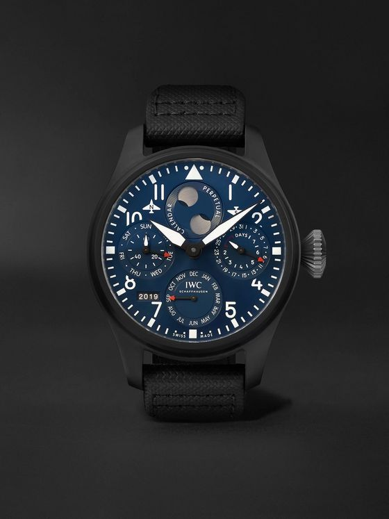 IWC SCHAFFHAUSEN Big Pilot's Perpetual Calendar Rodeo Drive Automatic Chronograph 46.5mm Ceramic and Leather Watch