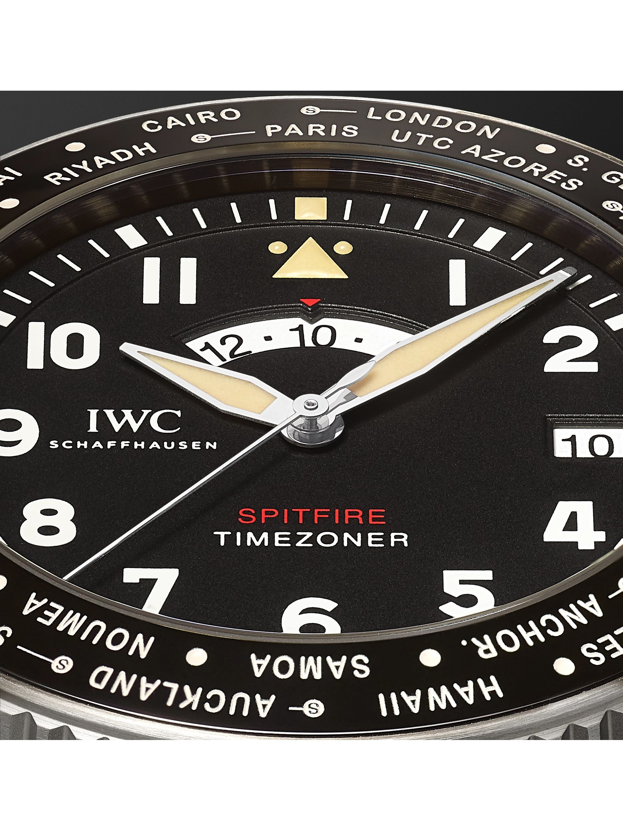 IWC SCHAFFHAUSEN Pilot's Timezoner Spitfire The Longest Flight Automatic 46mm Stainless Steel and Leather-Backed Webbing Watch, Ref. No. IW395501