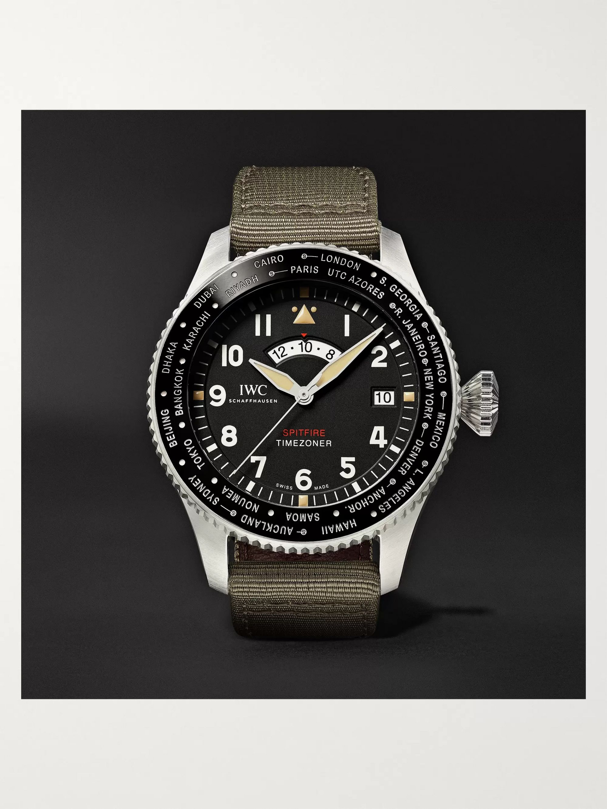 Pilot's Timezoner Spitfire The Longest Flight Automatic 46mm Stainless Steel And Leather Backed Webbing Watch, Ref. No. Iw395501 by Iwc Schaffhausen