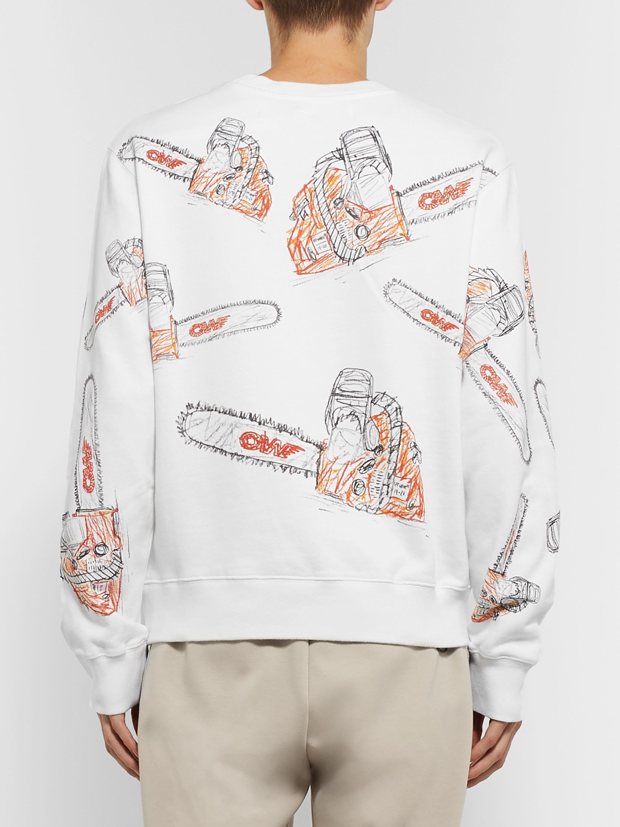Off-White Printed Fleece-Back Cotton-Jersey Sweatshirt