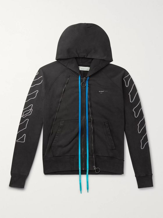 Off-White Logo-Embroidered Cotton-Jersey Zip-Up Hoodie