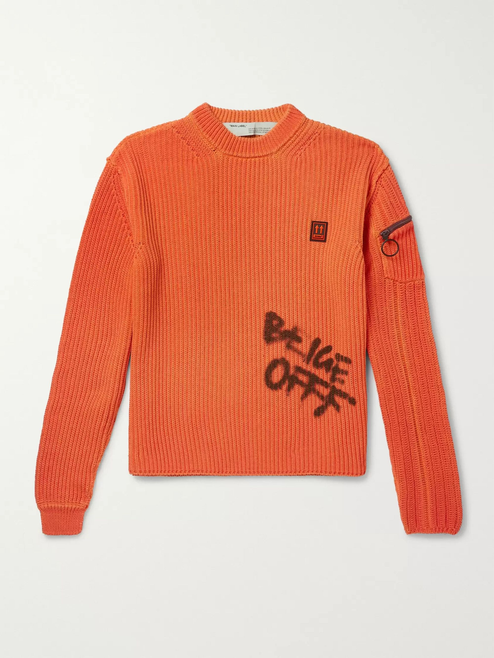 Logo Print Ribbed Cotton Sweater by Off White