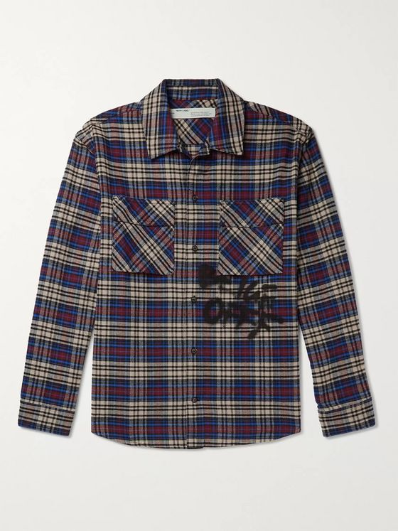 Off-White Logo-Print Checked Cotton-Blend Flannel Shirt