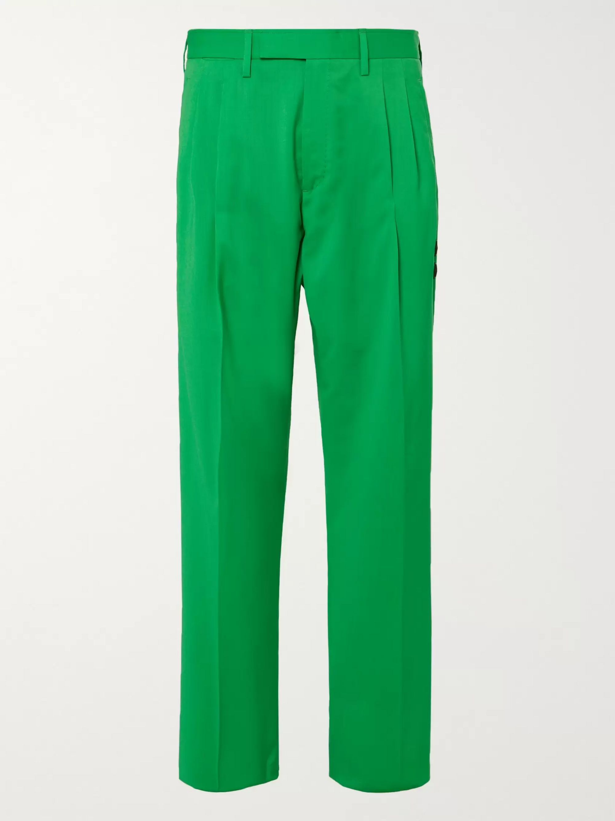Off-White Logo-Appliquéd Pleated Virgin Wool-Twill Trousers