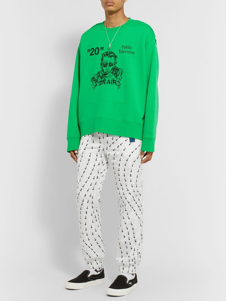 Off-White Embroidered Printed Fleece-Back Cotton-Jersey Sweatshirt