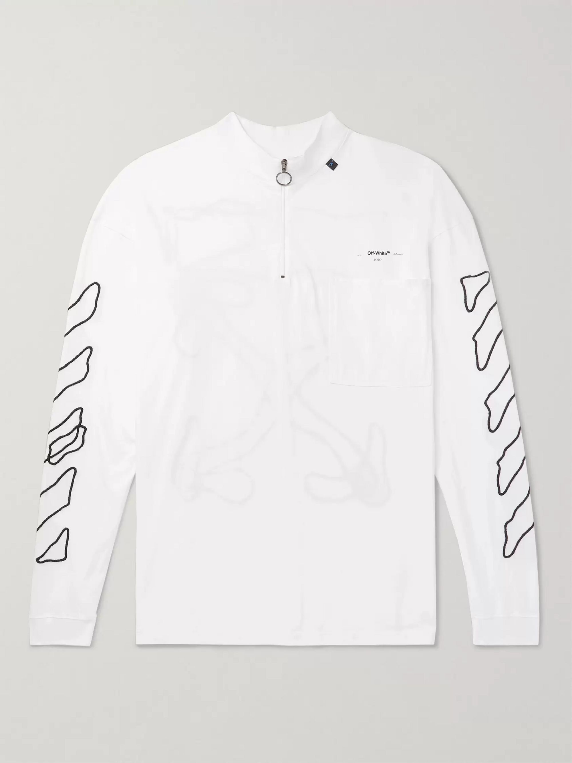 Off-White Embroidered Cotton-Jersey Mock-Neck T-Shirt