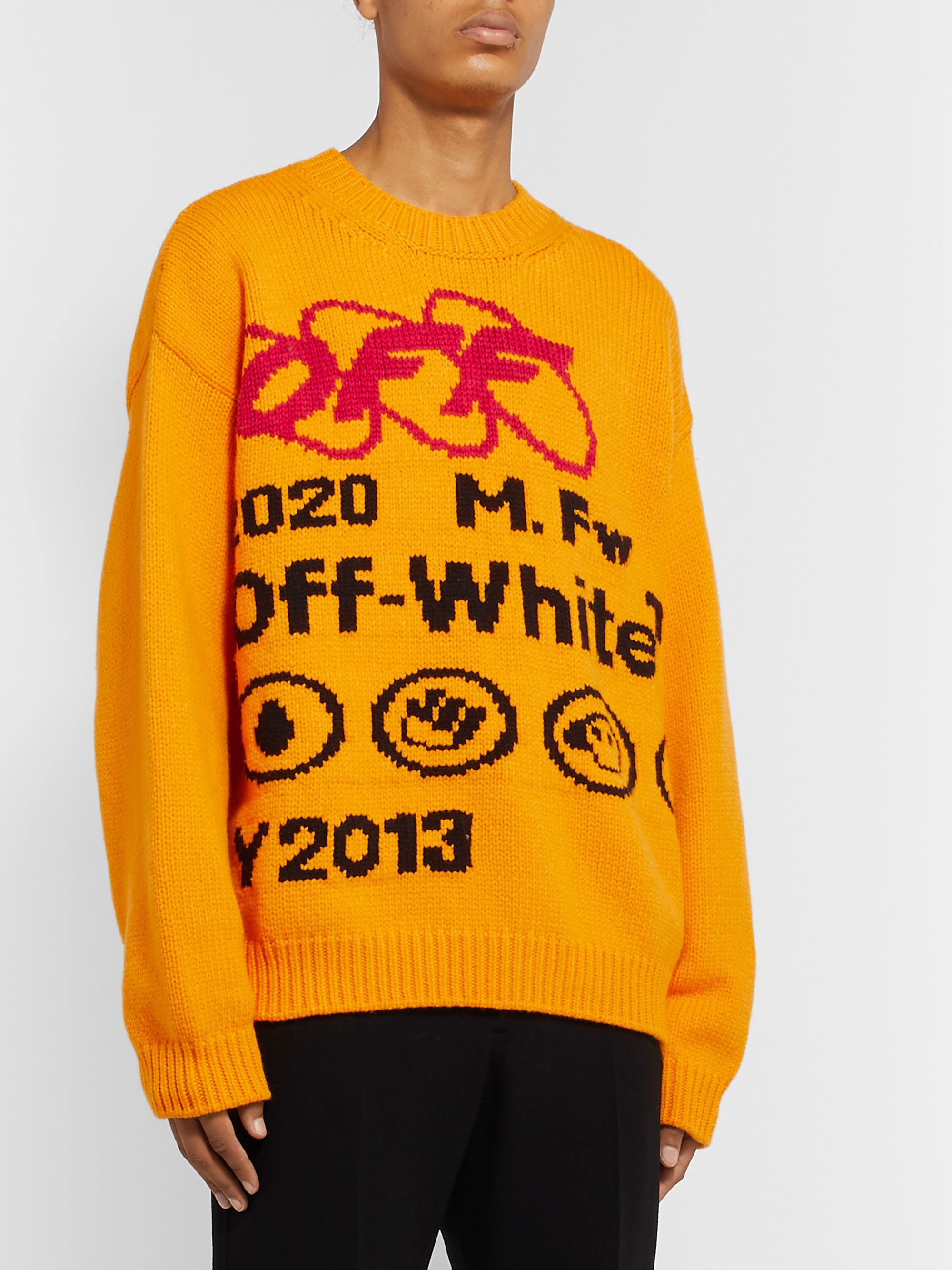 Off-White Intarsia Wool-Blend Sweater