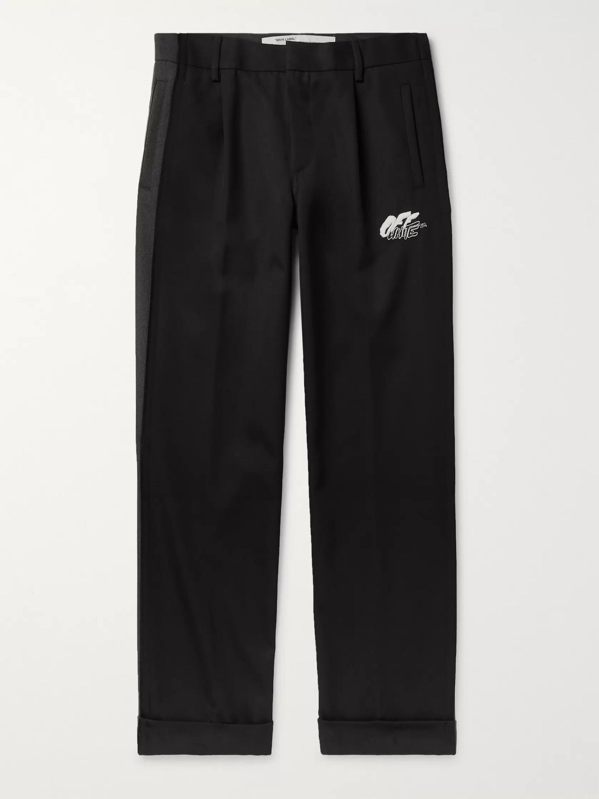 Off-White Black Logo-Embroidered Wool-Blend Trousers