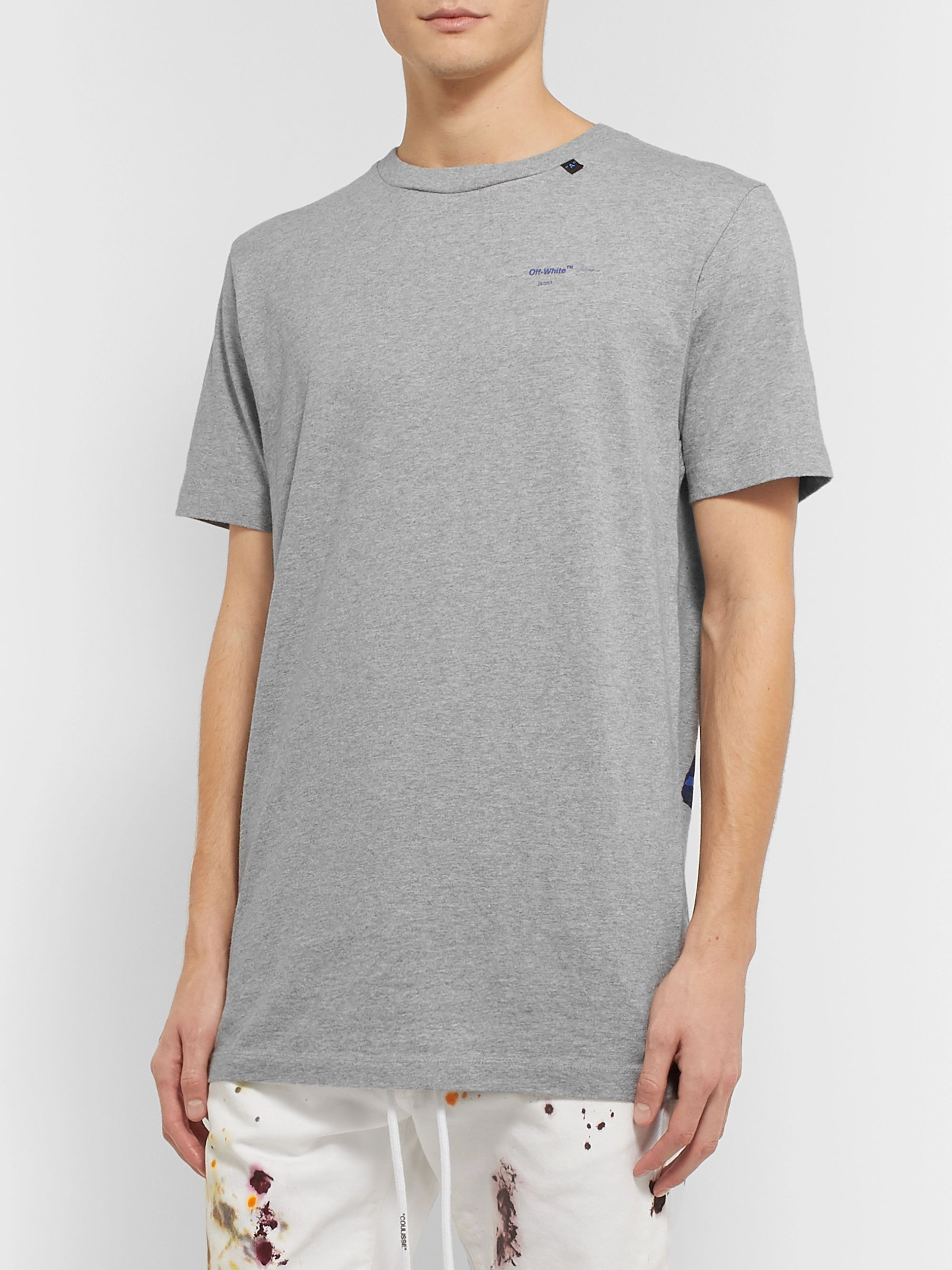Off-White Slim-Fit Logo-Print Mélange Cotton-Jersey T-Shirt