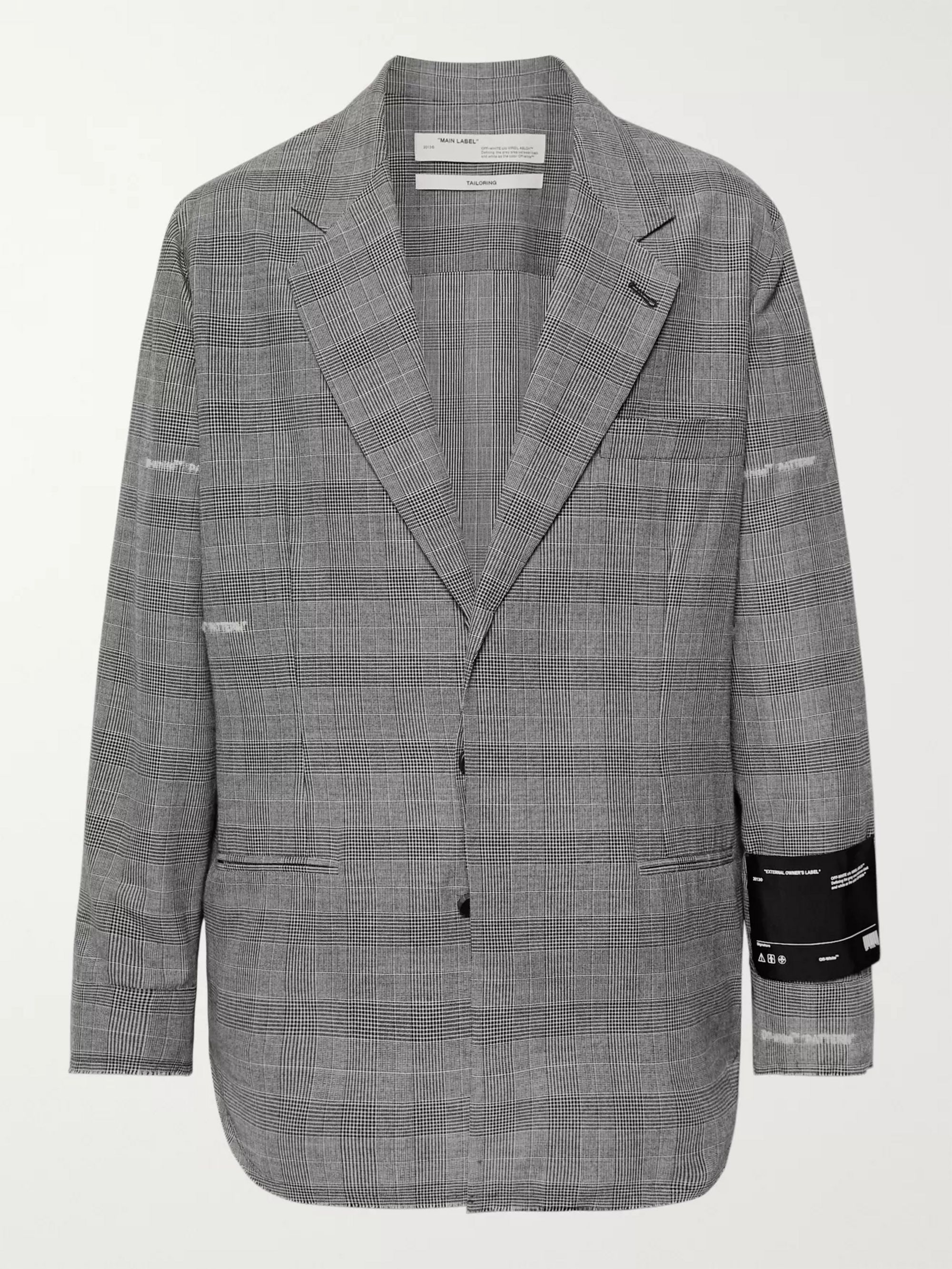 Off-White Grey Logo-Embroidered Prince of Wales Checked Cotton-Blend Blazer