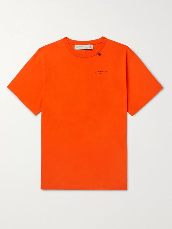 Off-White Embroidered Cotton-Jersey T-Shirt