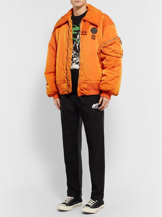 Off-White Oversized Garment-Dyed Padded Shell Bomber Jacket