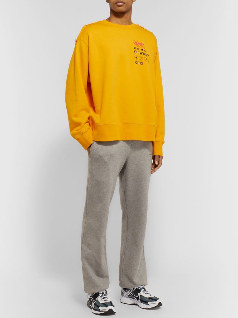 Off-White Distressed Embroidered Printed Cotton-Jersey and Terry Sweatshirt