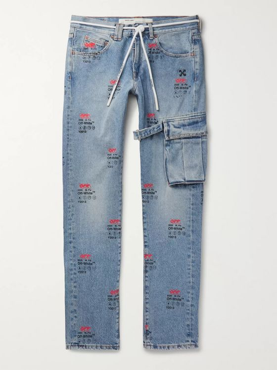 Off-White Slim-Fit Printed Denim Jeans