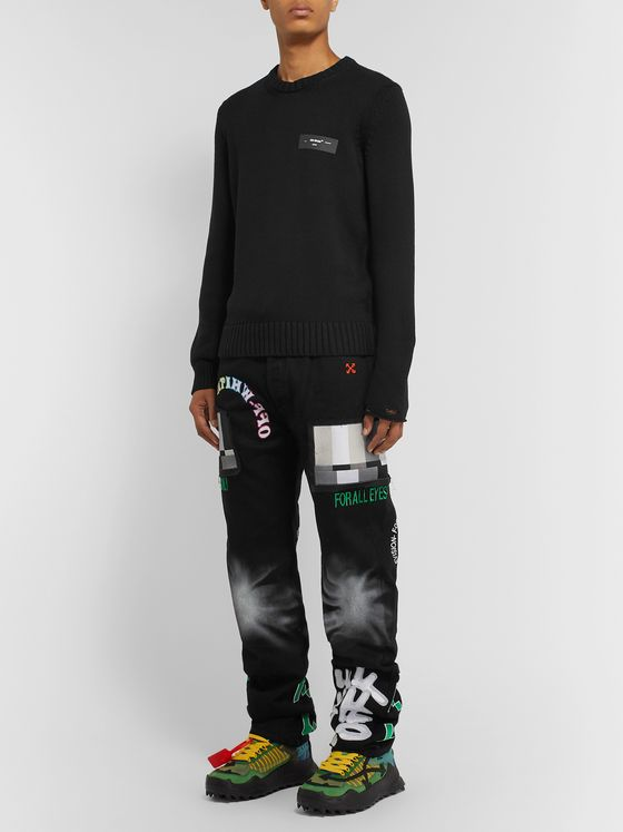 Off-White + EV BRAVADO Printed Embroidered Appliquéd Denim Jeans