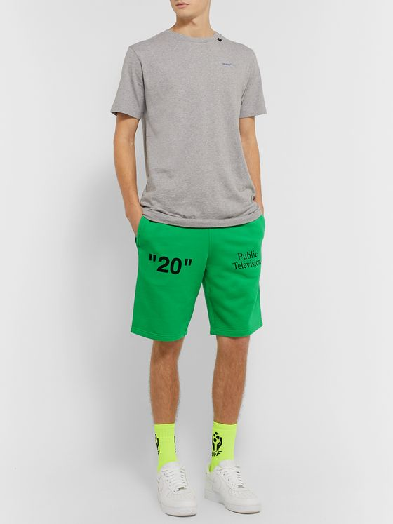 Off-White Printed Embroidered Fleece-Back Cotton-Jersey Shorts
