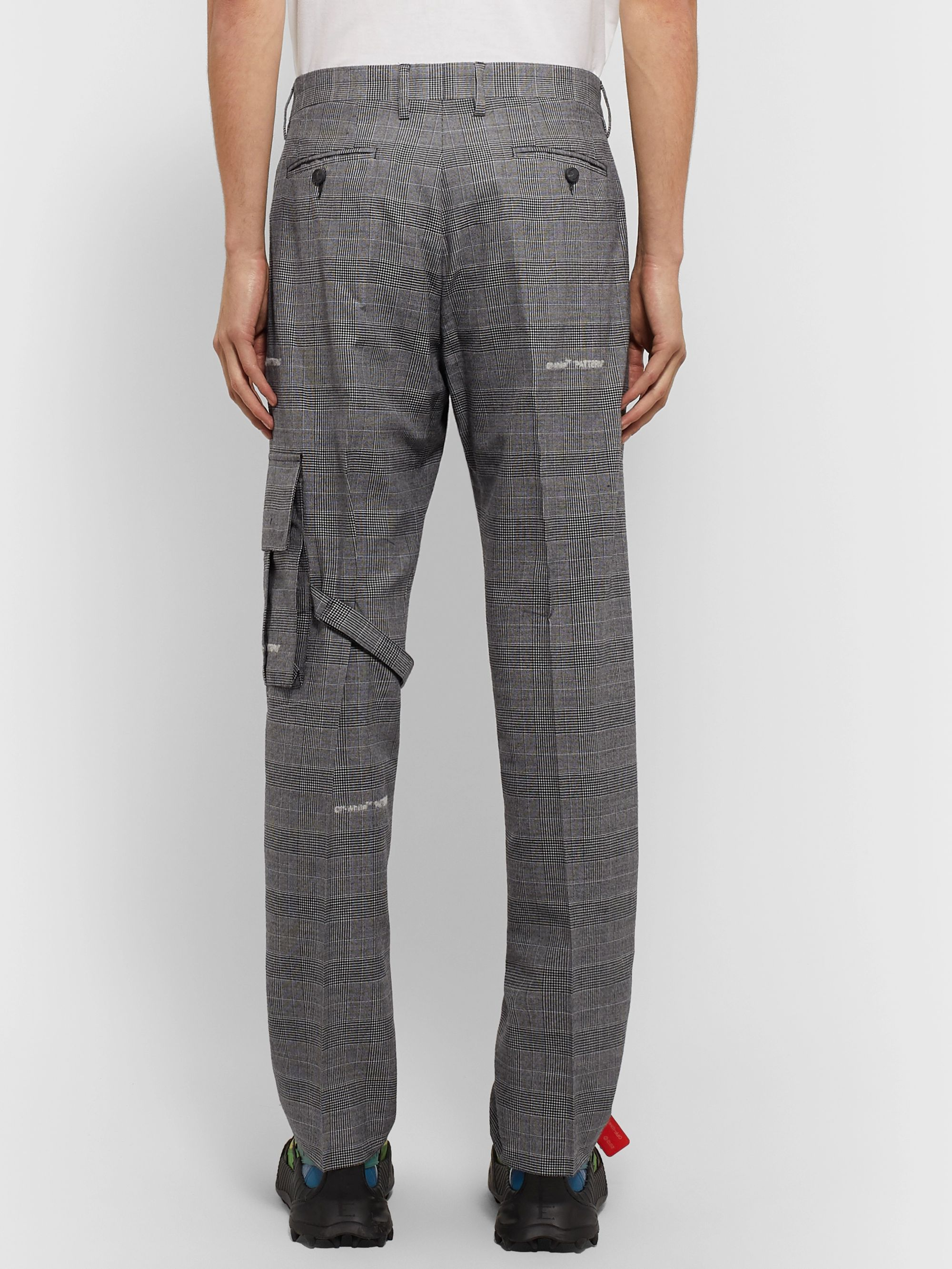 Off-White Grey Pleated Prince of Wales Checked Cotton-Blend Suit Trousers