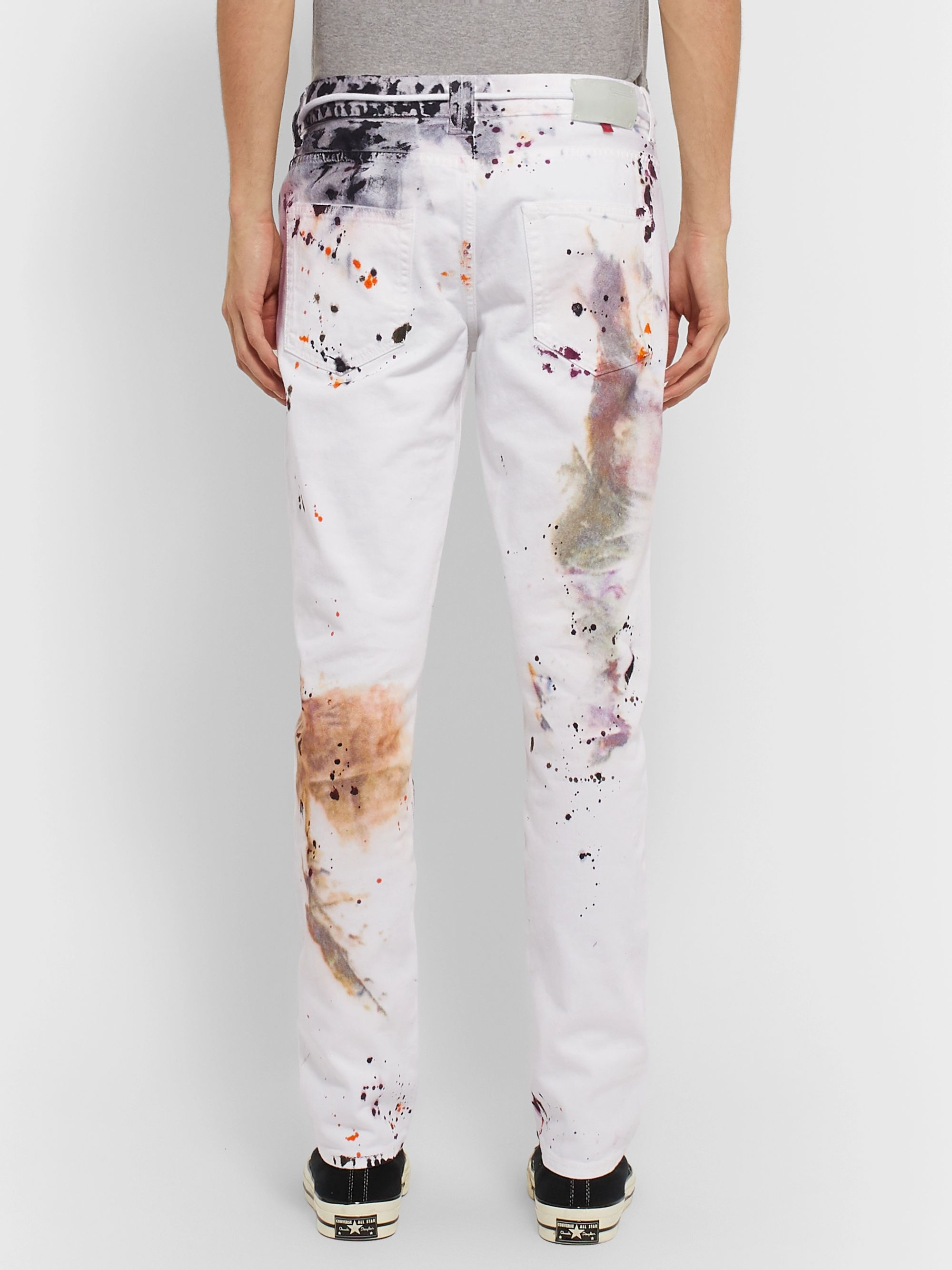 Off-White Tapered Distressed Denim Jeans