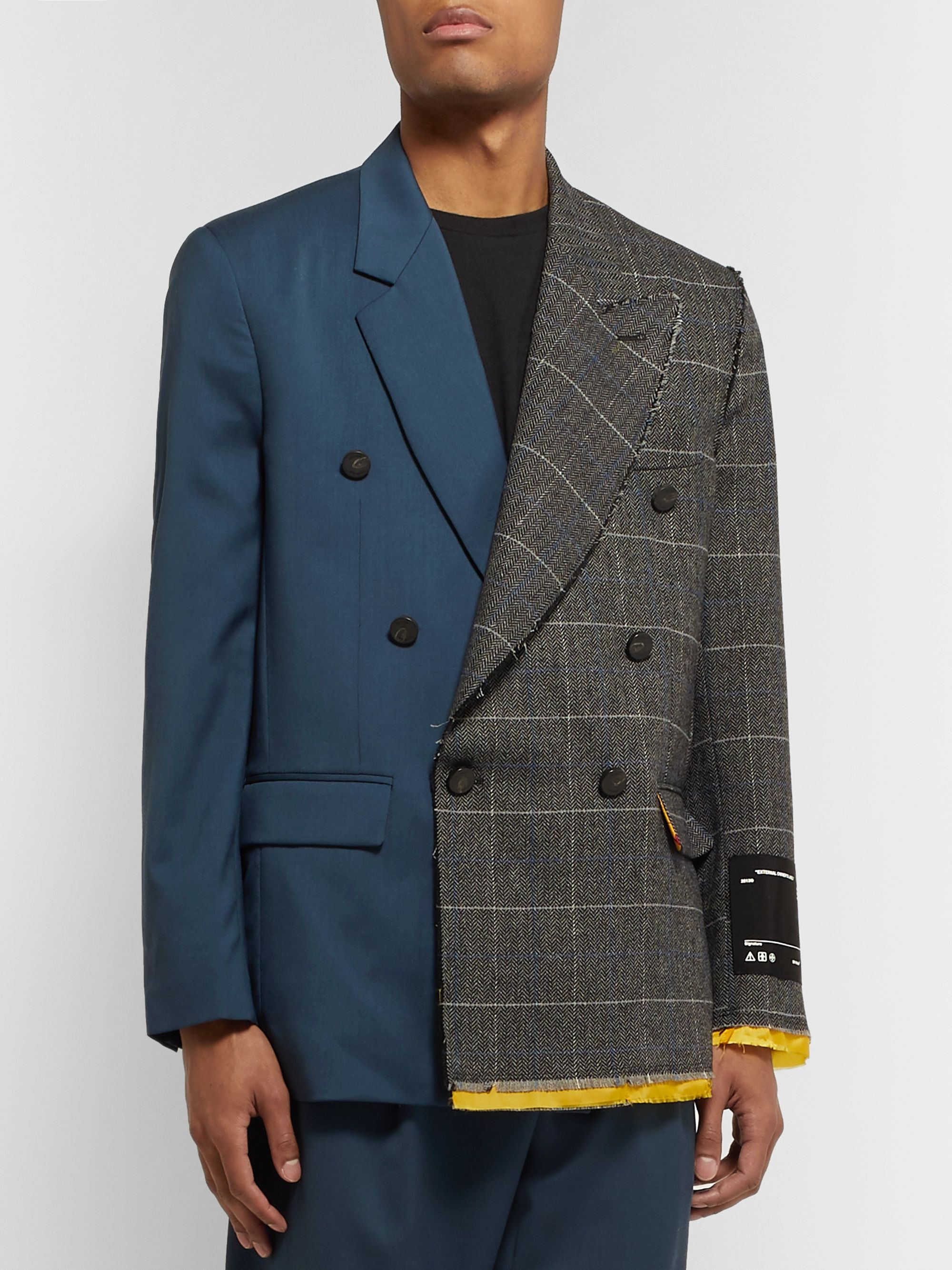 Off-White Panelled Distressed Double-Breasted Virgin Wool Blazer