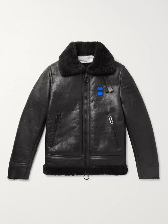 Off-White Printed Shearling Jacket