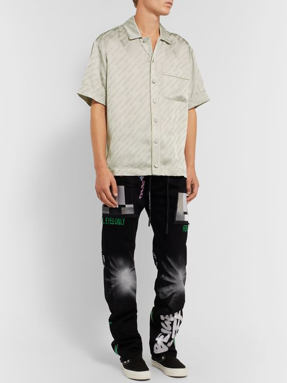 Off-White Logo-Print Piped Satin Shirt