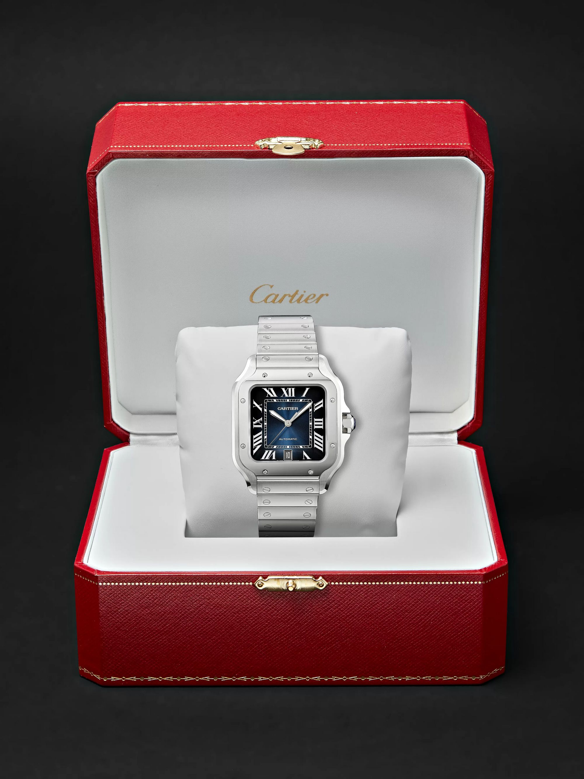 Cartier Santos de Cartier Automatic 39.8mm Interchangeable Stainless Steel and Leather Watch