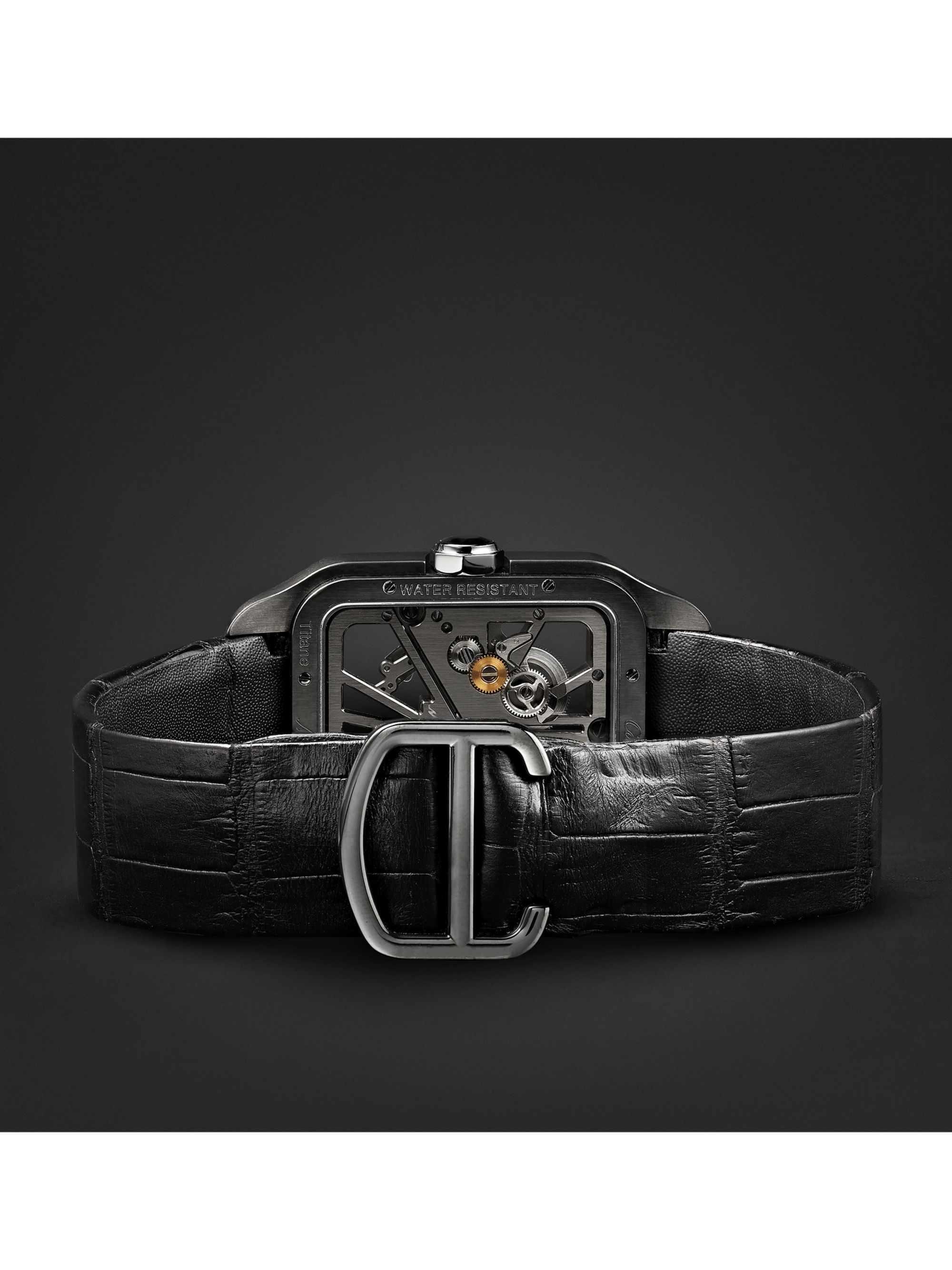 Cartier Santos-Dumont Skeleton 43.3mm ADLC-Coated Titanium and Alligator Watch