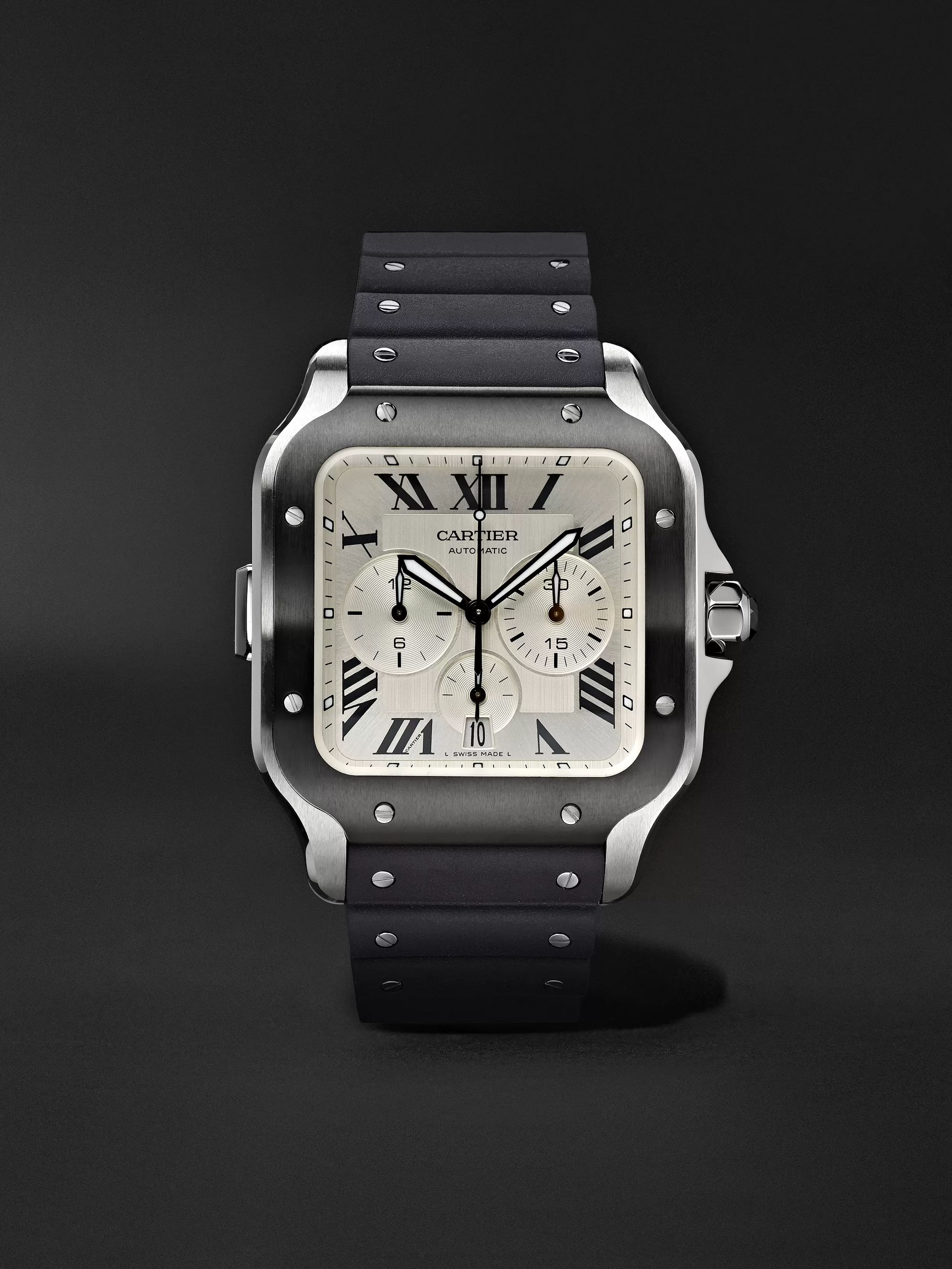 Cartier Santos de Cartier Automatic Chronograph 43.3mm Interchangeable ADLC-Coated Stainless Steel, Alligator and Rubber Watch
