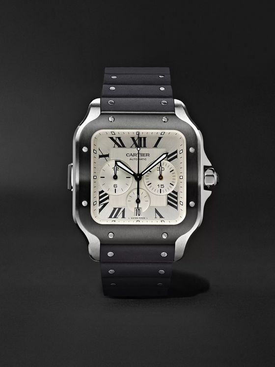 Cartier Santos de Cartier Automatic Chronograph 43.3mm Interchangeable ADLC-Coated Stainless Steel, Alligator and Rubber Watch, Ref. No. WSSA0017