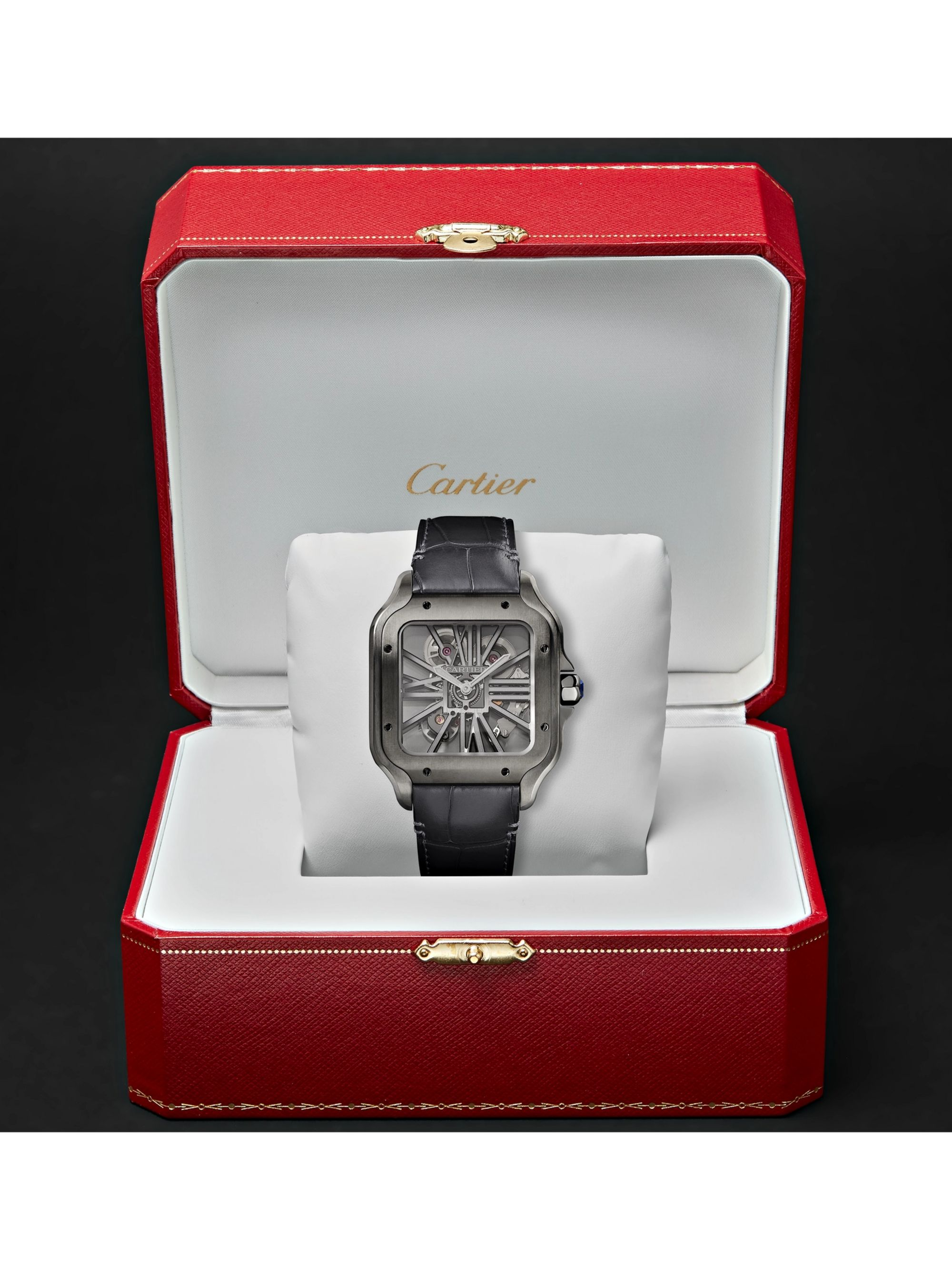 Cartier Santos de Cartier Skeleton Noctambule 39.8mm ADLC-Coated Stainless Steel and Alligator Watch