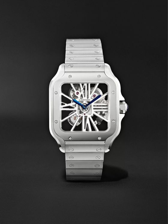 Cartier Santos de Cartier Skeleton 39.8mm Interchangeable Stainless Steel and Alligator Watch