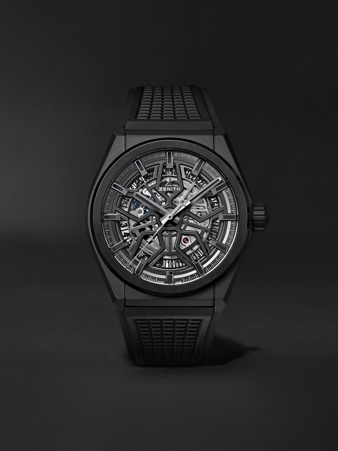 Zenith Defy Classic Automatic 41mm Ceramic And Rubber Watch In Black