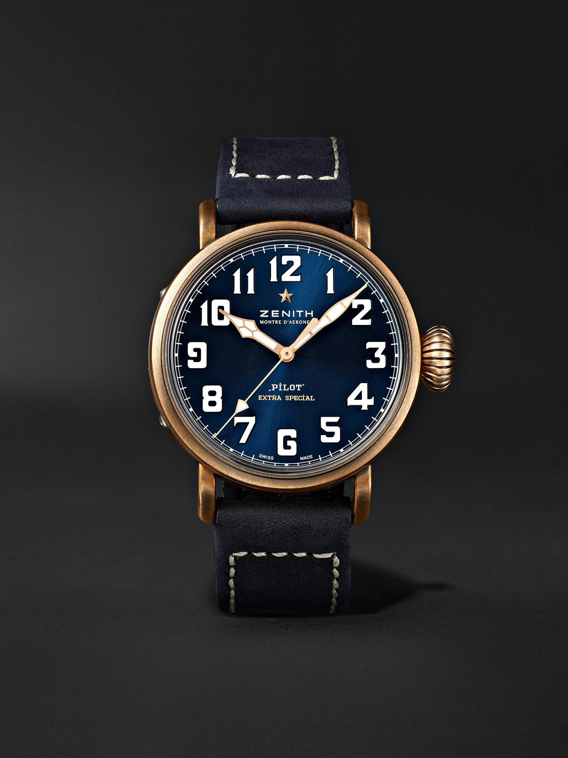 Zenith Pilot Type 20 Extra Special Automatic 40mm Bronze And Nubuck Watch In Blue