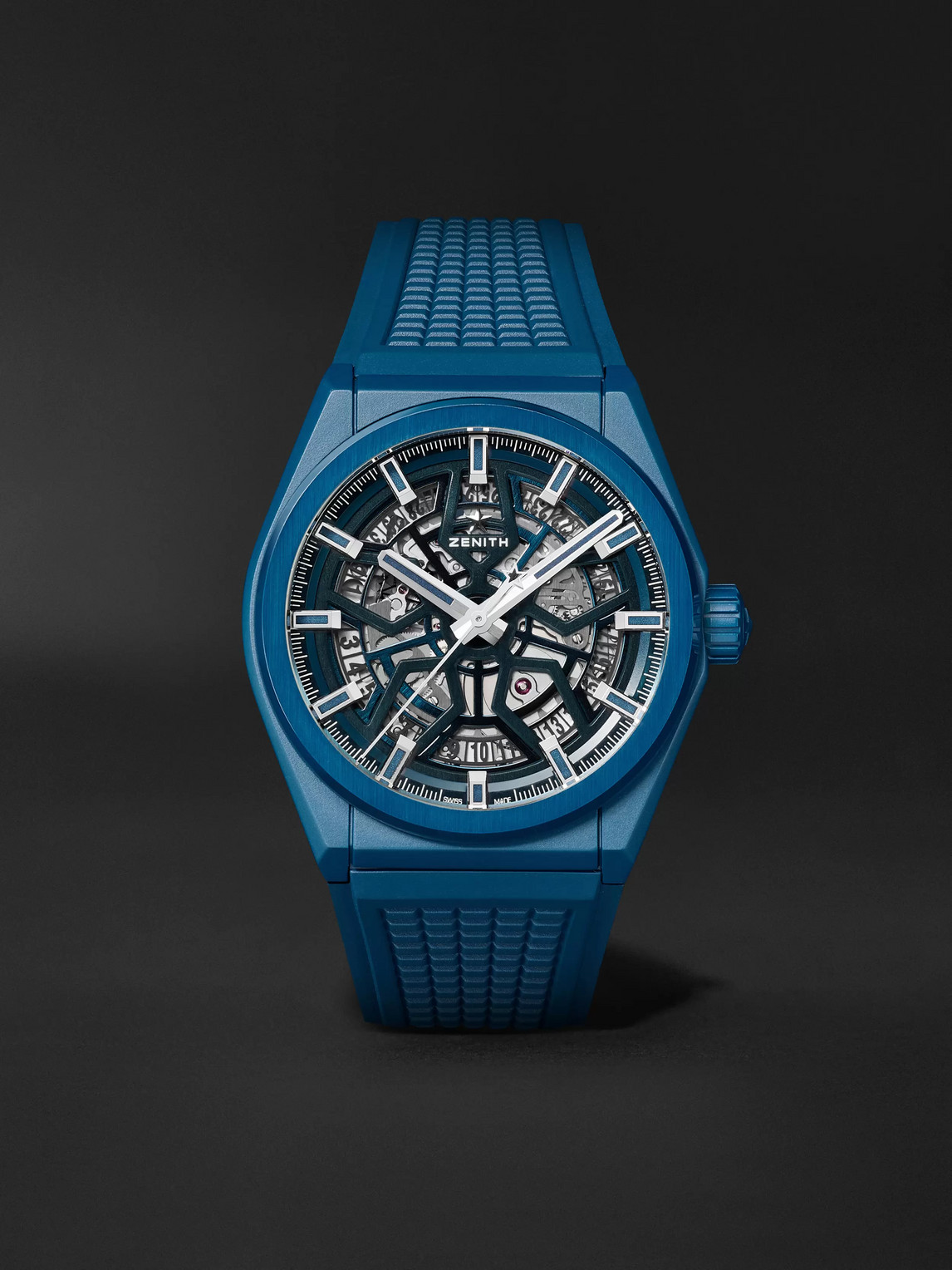 Zenith Defy Classic Automatic 41mm Ceramic And Rubber Watch In Blue