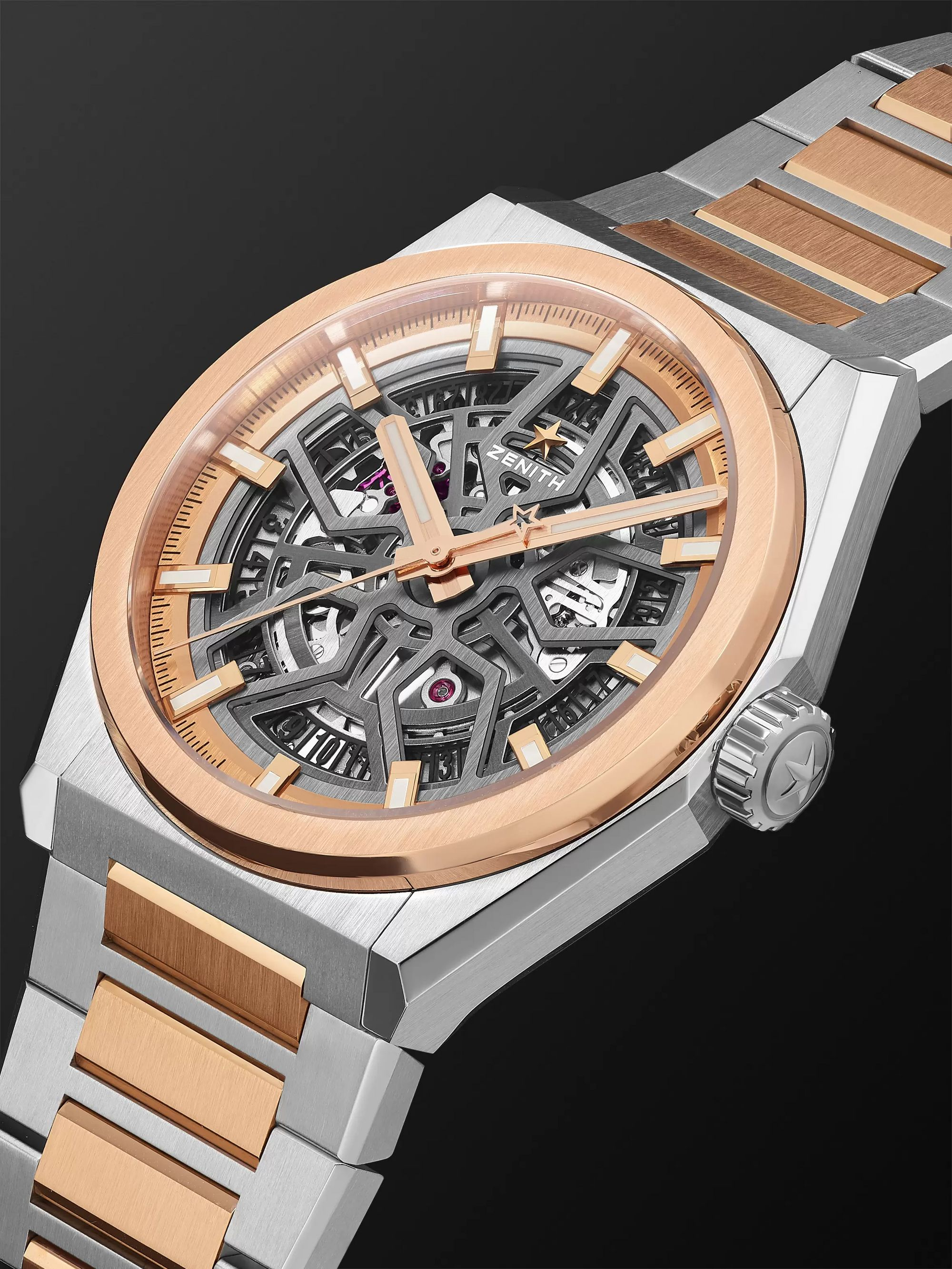Zenith DEFY Classic Automatic Skeleton 41mm Brushed-Titanium and 18-Karat Rose Gold Watch, Ref. No. 87.9001.670/79.M9001