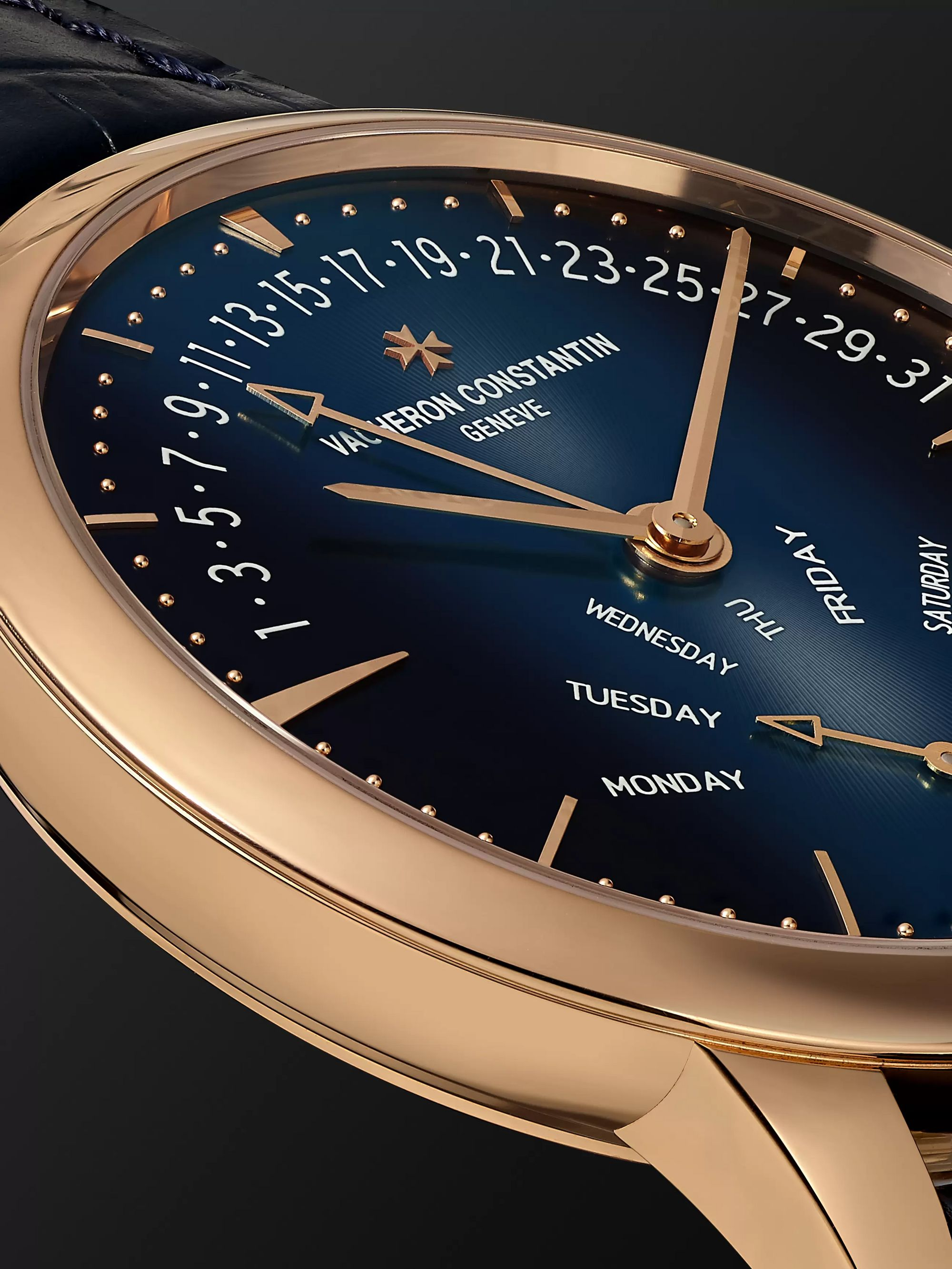 Vacheron Constantin Patrimony Retrograde Day-Date Automatic 42.5mm 18-Karat Pink Gold and Alligator Watch