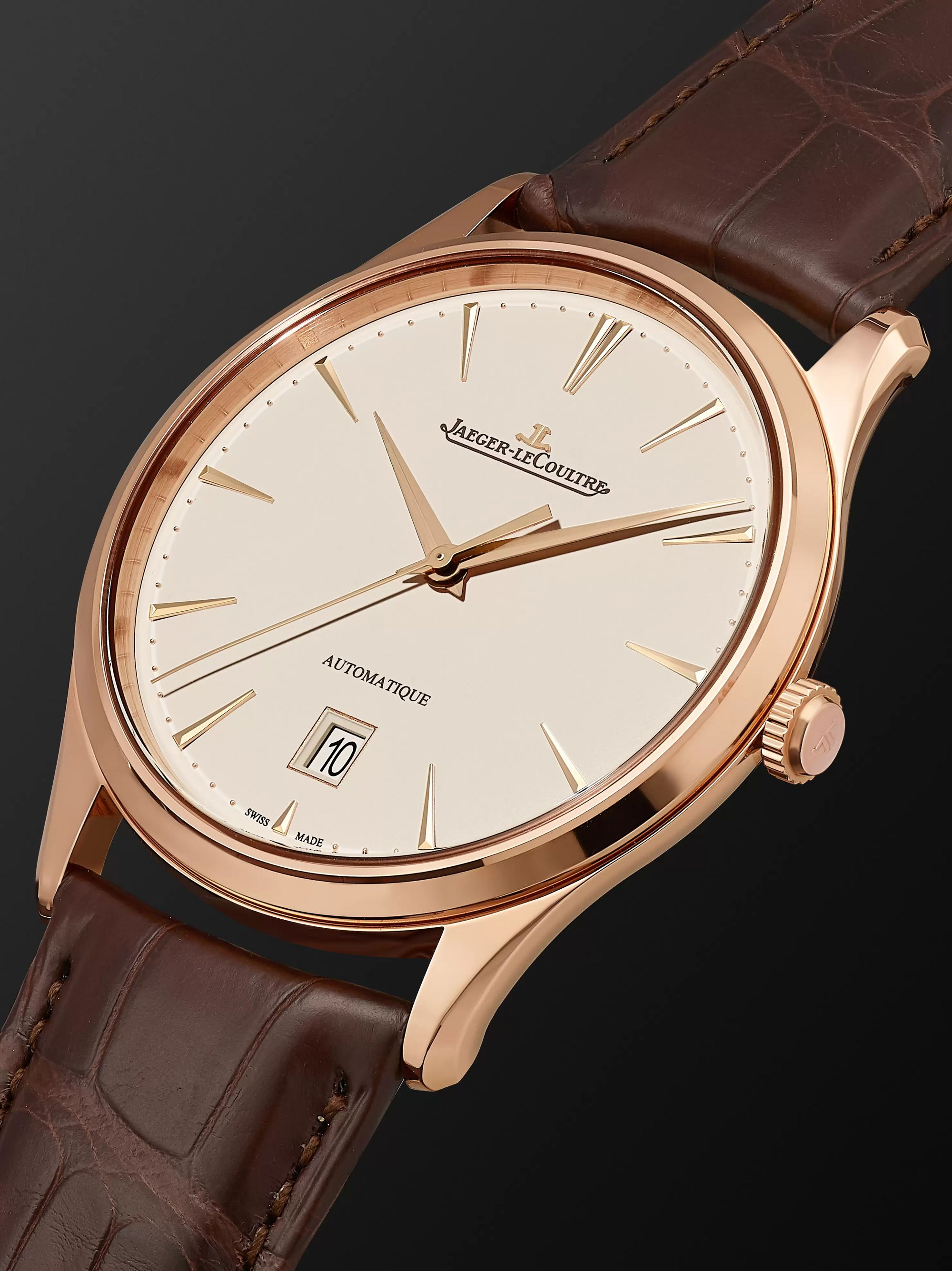 Jaeger-LeCoultre Master Ultra Thin Date Automatic 39mm 18-Karat Rose Gold and Alligator Watch, Ref No. 1232510