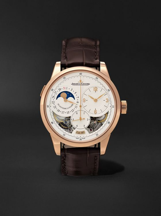 Jaeger-LeCoultre Duomètre Quantième Lunaire Hand-Wound Moon-Phase 42mm 18-Karat Pink Gold and Alligator Watch, Ref. No. Q6042422MS