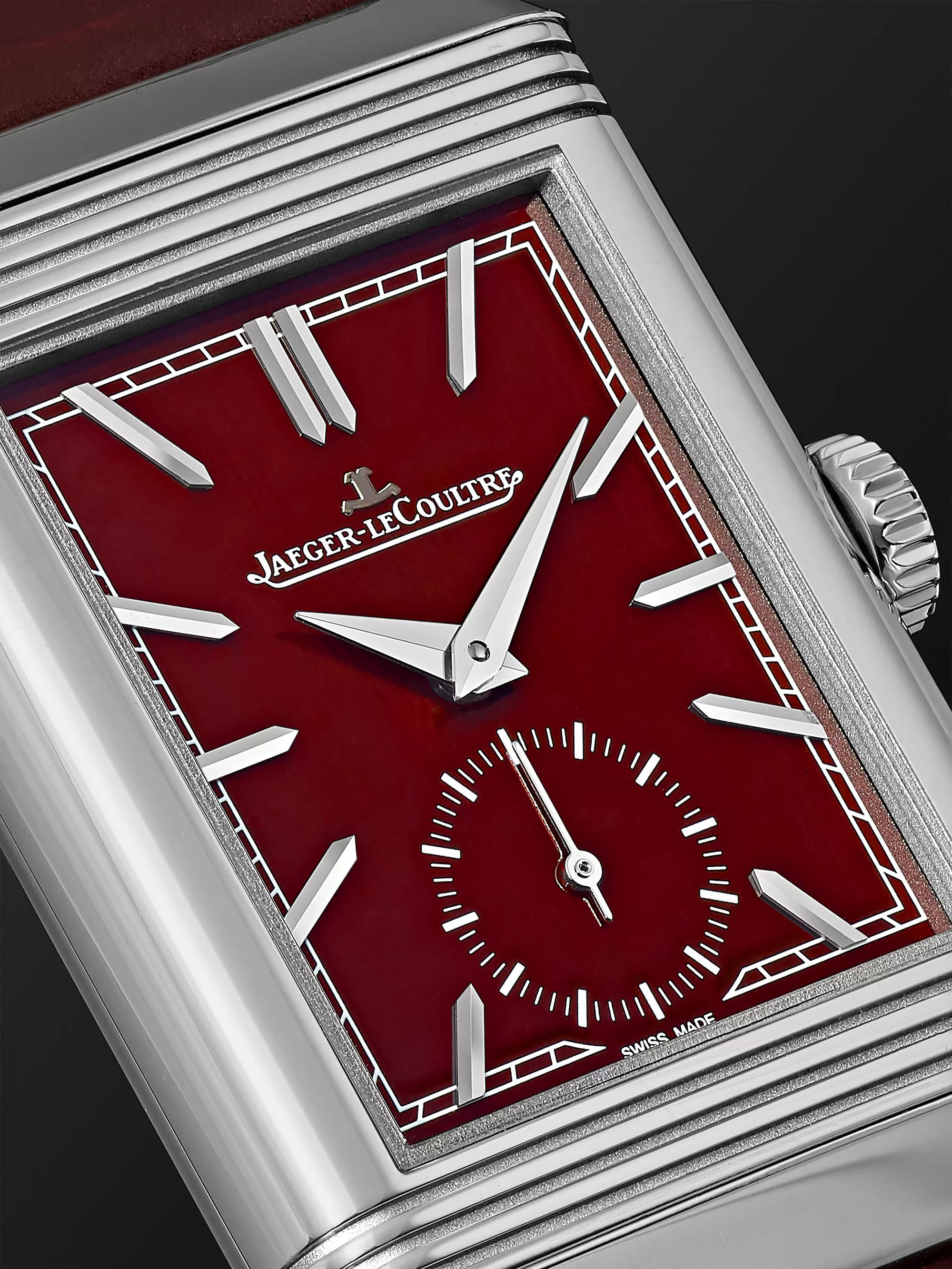 Jaeger-LeCoultre Reverso Tribute Small Seconds Hand-Wound 27.4mm Stainless Steel and Leather Watch