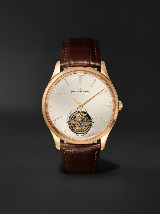 Jaeger-LeCoultre Master Ultra Thin Tourbillon Automatic 40mm 18-Karat Pink Gold and Alligator Watch, Ref. No. 1682410
