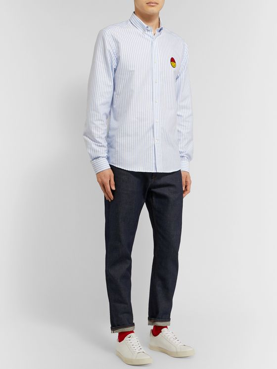 AMI Button-Down Collar Logo-Appliquéd Striped Cotton Oxford Shirt