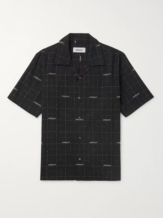 AMBUSH® Camp-Collar Logo-Jacquard Wool Shirt