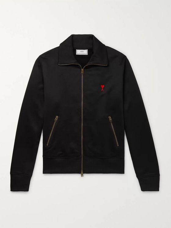 AMI Logo-Appliquéd Fleece-Back Jersey Track Jacket