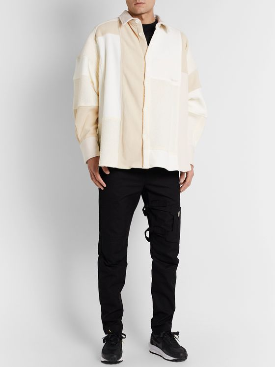 AMBUSH® Oversized Patchwork Fleece and Twill Overshirt