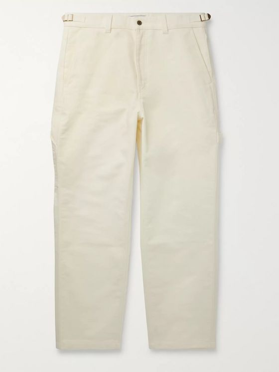 AMI Wide-Leg Brushed-Cotton Trousers
