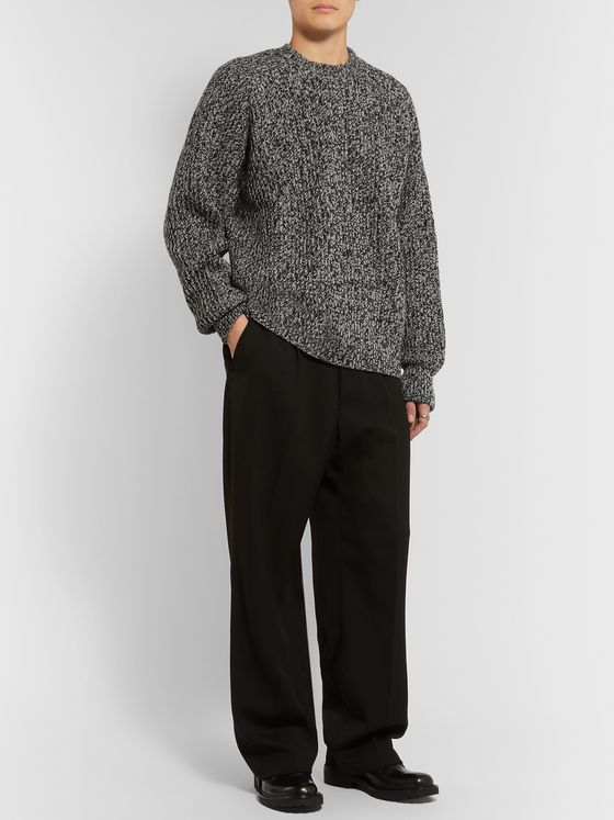 AMI Ribbed Mélange Wool Sweater